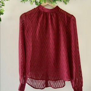 Free People Wine High Neck Button Back Sheer Top